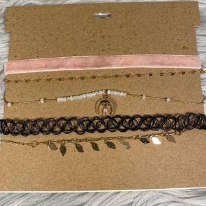 Jewelry - 🆕 Gold & Pink Five Choker Necklace Set
